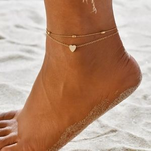 NEW Gold Double Layer Heart Ball Ankle Bracelet